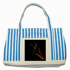 Abstract Rainbow Lily, Colorful Mystical Flower  Blue Striped Tote Bag by DianeClancy