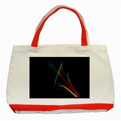 Abstract Rainbow Lily, Colorful Mystical Flower  Classic Tote Bag (red) by DianeClancy