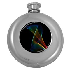 Abstract Rainbow Lily, Colorful Mystical Flower  Hip Flask (round) by DianeClancy