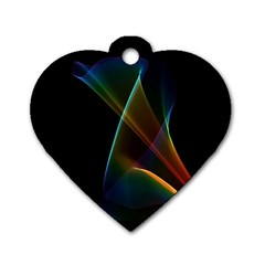 Abstract Rainbow Lily, Colorful Mystical Flower  Dog Tag Heart (two Sided) by DianeClancy