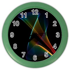 Abstract Rainbow Lily, Colorful Mystical Flower  Wall Clock (color) by DianeClancy