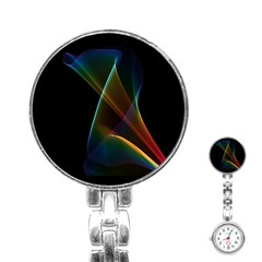 Abstract Rainbow Lily, Colorful Mystical Flower  Stainless Steel Nurses Watch by DianeClancy
