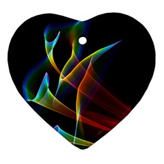 Peacock Symphony, Abstract Rainbow Music Heart Ornament by DianeClancy