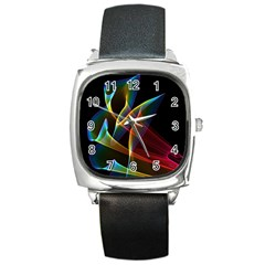 Peacock Symphony, Abstract Rainbow Music Square Leather Watch by DianeClancy