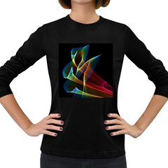 Peacock Symphony, Abstract Rainbow Music Women s Long Sleeve T Shirt (dark Colored) by DianeClancy