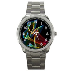 Peacock Symphony, Abstract Rainbow Music Sport Metal Watch by DianeClancy