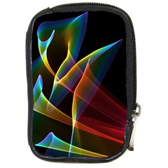 Peacock Symphony, Abstract Rainbow Music Compact Camera Leather Case by DianeClancy