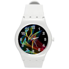 Peacock Symphony, Abstract Rainbow Music Plastic Sport Watch (medium) by DianeClancy