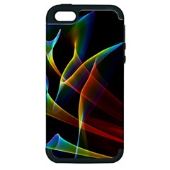 Peacock Symphony, Abstract Rainbow Music Apple Iphone 5 Hardshell Case (pc+silicone) by DianeClancy