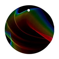 Liquid Rainbow, Abstract Wave Of Cosmic Energy  Round Ornament by DianeClancy