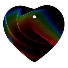 Liquid Rainbow, Abstract Wave Of Cosmic Energy  Heart Ornament by DianeClancy