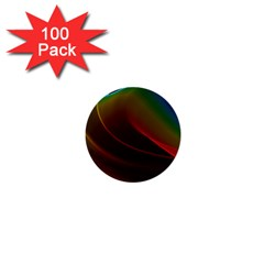 Liquid Rainbow, Abstract Wave Of Cosmic Energy  1  Mini Button (100 Pack) by DianeClancy