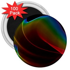 Liquid Rainbow, Abstract Wave Of Cosmic Energy  3  Button Magnet (100 Pack) by DianeClancy