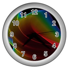 Liquid Rainbow, Abstract Wave Of Cosmic Energy  Wall Clock (silver) by DianeClancy