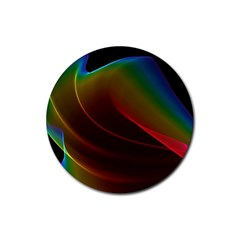 Liquid Rainbow, Abstract Wave Of Cosmic Energy  Drink Coasters 4 Pack (round) by DianeClancy