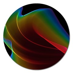 Liquid Rainbow, Abstract Wave Of Cosmic Energy  Magnet 5  (round) by DianeClancy