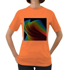 Liquid Rainbow, Abstract Wave Of Cosmic Energy  Women s T Shirt (colored) by DianeClancy
