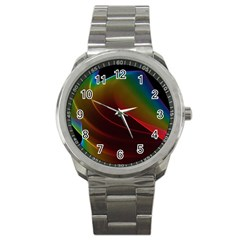 Liquid Rainbow, Abstract Wave Of Cosmic Energy  Sport Metal Watch by DianeClancy