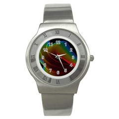 Liquid Rainbow, Abstract Wave Of Cosmic Energy  Stainless Steel Watch (slim) by DianeClancy