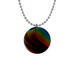 Liquid Rainbow, Abstract Wave Of Cosmic Energy  Button Necklace by DianeClancy