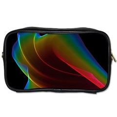 Liquid Rainbow, Abstract Wave Of Cosmic Energy  Travel Toiletry Bag (two Sides) by DianeClancy
