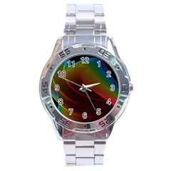 Liquid Rainbow, Abstract Wave Of Cosmic Energy  Stainless Steel Watch by DianeClancy