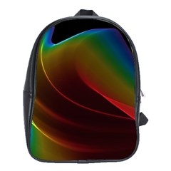 Liquid Rainbow, Abstract Wave Of Cosmic Energy  School Bag (xl) by DianeClancy
