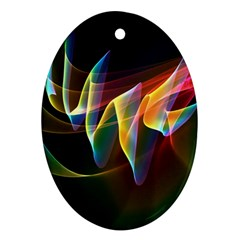 Northern Lights, Abstract Rainbow Aurora Oval Ornament by DianeClancy