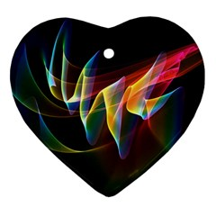 Northern Lights, Abstract Rainbow Aurora Heart Ornament by DianeClancy