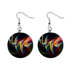 Northern Lights, Abstract Rainbow Aurora Mini Button Earrings by DianeClancy