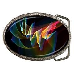 Northern Lights, Abstract Rainbow Aurora Belt Buckle (oval) by DianeClancy