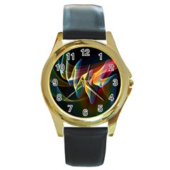 Northern Lights, Abstract Rainbow Aurora Round Leather Watch (gold Rim)  by DianeClancy