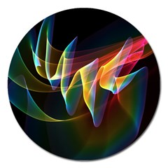 Northern Lights, Abstract Rainbow Aurora Magnet 5  (round) by DianeClancy