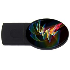 Northern Lights, Abstract Rainbow Aurora 2gb Usb Flash Drive (oval) by DianeClancy