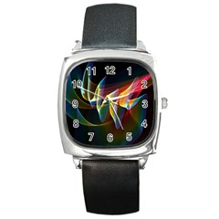 Northern Lights, Abstract Rainbow Aurora Square Leather Watch by DianeClancy