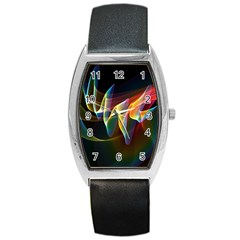 Northern Lights, Abstract Rainbow Aurora Tonneau Leather Watch by DianeClancy