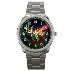Northern Lights, Abstract Rainbow Aurora Sport Metal Watch by DianeClancy