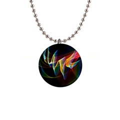 Northern Lights, Abstract Rainbow Aurora Button Necklace