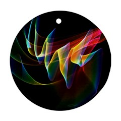 Northern Lights, Abstract Rainbow Aurora Round Ornament (two Sides)