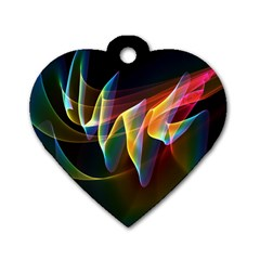 Northern Lights, Abstract Rainbow Aurora Dog Tag Heart (two Sided) by DianeClancy