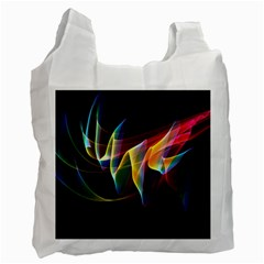 Northern Lights, Abstract Rainbow Aurora White Reusable Bag (one Side) by DianeClancy