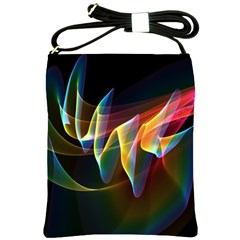 Northern Lights, Abstract Rainbow Aurora Shoulder Sling Bag by DianeClancy
