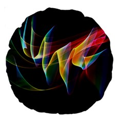 Northern Lights, Abstract Rainbow Aurora 18  Premium Round Cushion  by DianeClancy
