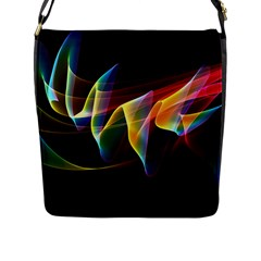 Northern Lights, Abstract Rainbow Aurora Flap Closure Messenger Bag (large) by DianeClancy