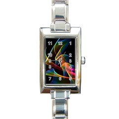 Crystal Rainbow, Abstract Winds Of Love  Rectangular Italian Charm Watch by DianeClancy