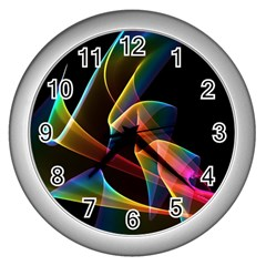 Crystal Rainbow, Abstract Winds Of Love  Wall Clock (silver) by DianeClancy