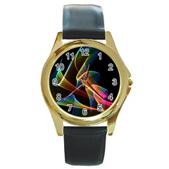 Crystal Rainbow, Abstract Winds Of Love  Round Leather Watch (gold Rim)  by DianeClancy