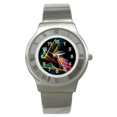 Crystal Rainbow, Abstract Winds Of Love  Stainless Steel Watch (slim) by DianeClancy