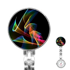 Crystal Rainbow, Abstract Winds Of Love  Stainless Steel Nurses Watch by DianeClancy