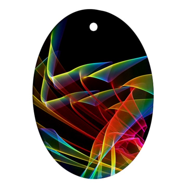 Dancing Northern Lights, Abstract Summer Sky  Oval Ornament